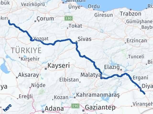Çankırı Çınar Diyarbakır Arası Kaç Km? - Kmhesaplama.com Arası Kaç Km Saat? Nerede Yol Haritası Yakıt, Rota ve Mesafe Hesaplama