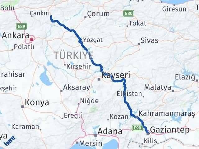Çankırı Gaziantep Arası Kaç Km - Kaç Saat? Arası Kaç Km Saat? Nerede Yol Haritası Yakıt, Rota ve Mesafe Hesaplama