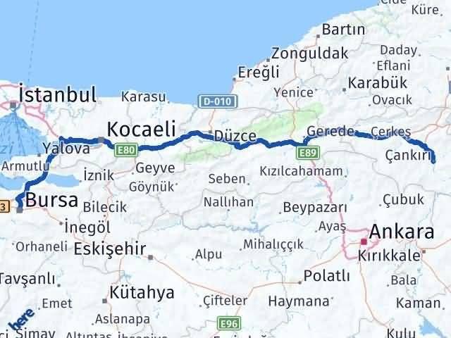 Çankırı Osmangazi Bursa Arası Kaç Km? - Kmhesaplama.com Arası Kaç Km Saat? Nerede Yol Haritası Yakıt, Rota ve Mesafe Hesaplama
