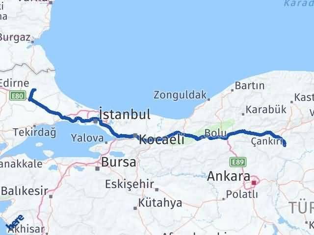 Çankırı Pınarhisar Kırklareli Arası Kaç Km? Arası Kaç Km Saat? Nerede Yol Haritası Yakıt, Rota ve Mesafe Hesaplama