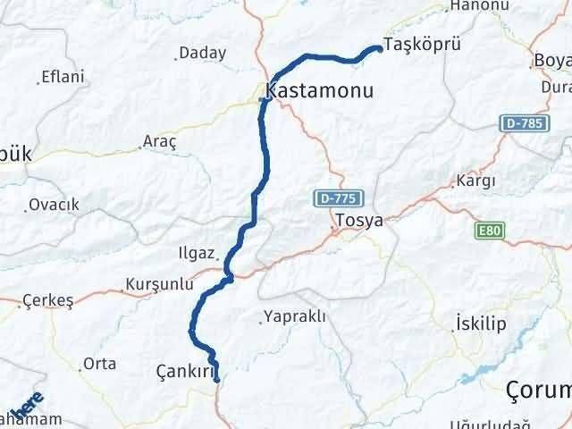 Çankırı Taşköprü Kastamonu Arası Kaç Km? - Kmhesaplama.com Arası Kaç Km Saat? Nerede Yol Haritası Yakıt, Rota ve Mesafe Hesaplama