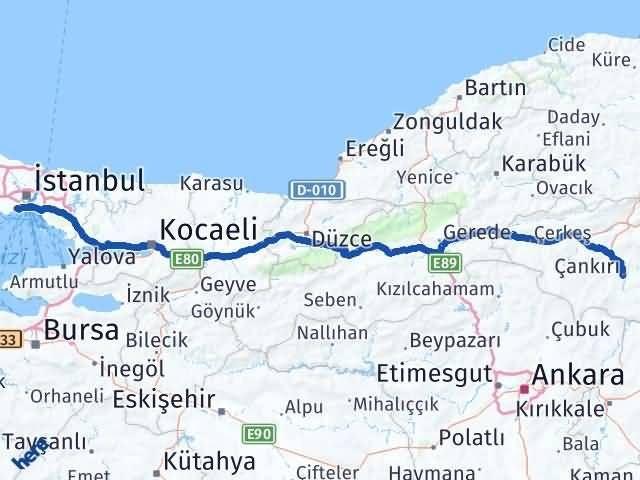 Çankırı Zeytinburnu İstanbul Arası Kaç Km? Arası Kaç Km Saat? Nerede Yol Haritası Yakıt, Rota ve Mesafe Hesaplama