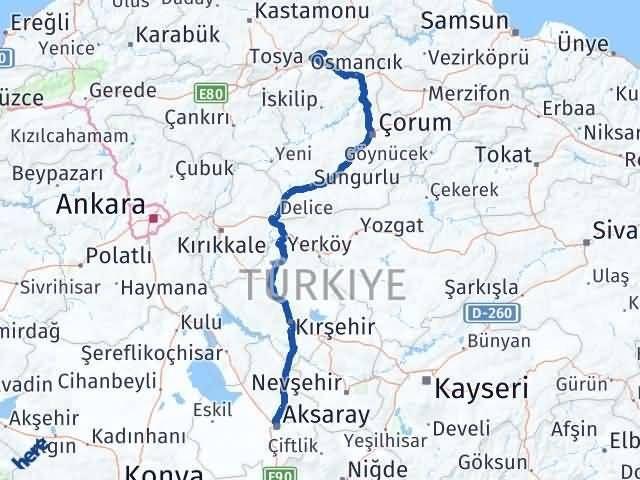 Çorum Kargı Aksaray Arası Kaç Km? Arası Kaç Km Saat? Nerede Yol Haritası Yakıt, Rota ve Mesafe Hesaplama