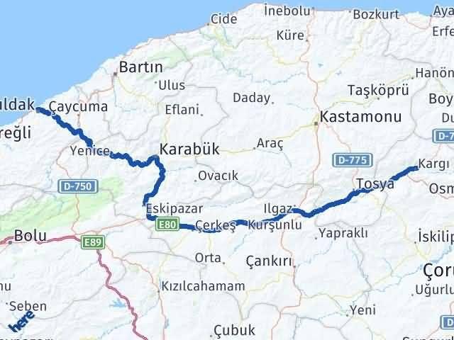 Çorum Kargı Zonguldak Arası Kaç Km? Arası Kaç Km Saat? Nerede Yol Haritası Yakıt, Rota ve Mesafe Hesaplama