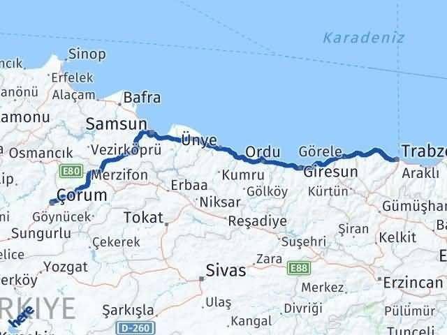 Çorum Trabzon Arası Kaç Km? Kaç Saat? - Km hesaplama Arası Kaç Km Saat? Nerede Yol Haritası Yakıt, Rota ve Mesafe Hesaplama