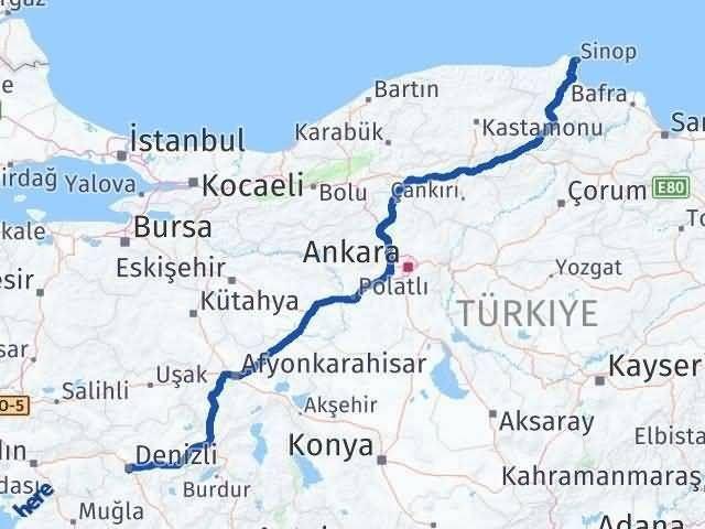 Denizli Sinop Arası Kaç Km - Kaç Saat? Arası Kaç Km Saat? Nerede Yol Haritası Yakıt, Rota ve Mesafe Hesaplama
