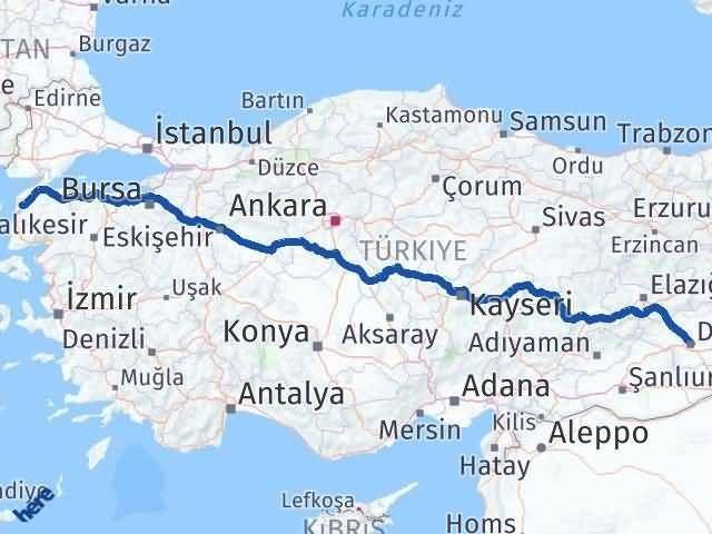 Diyarbakır Çanakkale Arası Kaç Km? Kaç Saat? - Km hesaplama Arası Kaç Km Saat? Nerede Yol Haritası Yakıt, Rota ve Mesafe Hesaplama