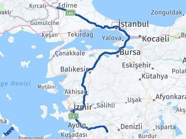 Edirne Karacasu Aydın Arası Kaç Km? - Kmhesaplama.com Arası Kaç Km Saat? Nerede Yol Haritası Yakıt, Rota ve Mesafe Hesaplama