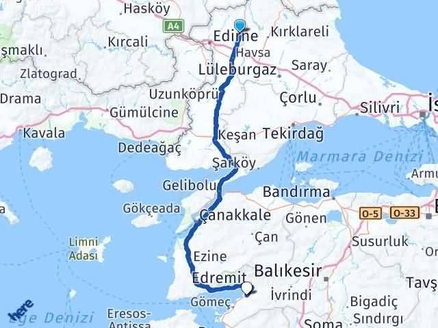 Edirne Süloğlu Burhaniye Arası Kaç Km? Arası Kaç Km Saat? Nerede Yol Haritası Yakıt, Rota ve Mesafe Hesaplama