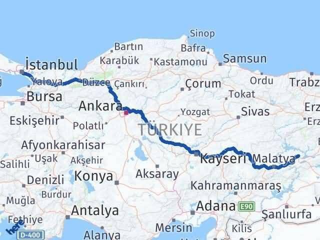 Elazığ İstanbul Arası Kaç Km - Kaç Saat? Arası Kaç Km Saat? Nerede Yol Haritası Yakıt, Rota ve Mesafe Hesaplama