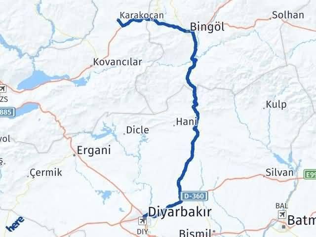 Elazığ Karakoçan   Diyarbakır Arası Kaç Km? Arası Kaç Km Saat? Nerede Yol Haritası Yakıt, Rota ve Mesafe Hesaplama