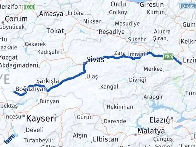 Erzincan Boğazlıyan Yozgat Arası Kaç Km? - Kmhesaplama.com Arası Kaç Km Saat? Nerede Yol Haritası Yakıt, Rota ve Mesafe Hesaplama
