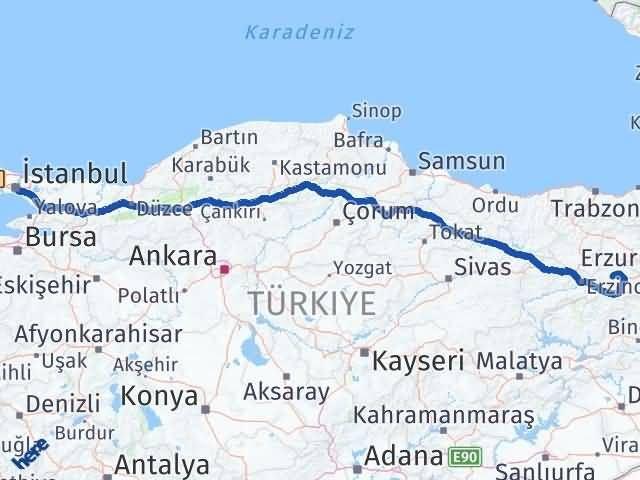 Erzincan Çayırlı İstanbul Arası Kaç Km? Arası Kaç Km Saat? Nerede Yol Haritası Yakıt, Rota ve Mesafe Hesaplama