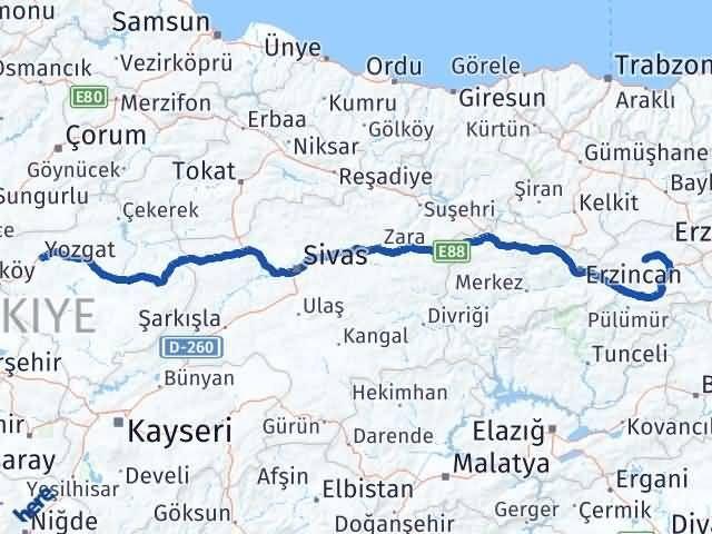 Erzincan Çayırlı Yozgat Arası Kaç Km? Arası Kaç Km Saat? Nerede Yol Haritası Yakıt, Rota ve Mesafe Hesaplama