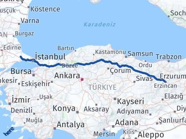 Erzincan Çerkezköy Tekirdağ Arası Kaç Km? - Kmhesaplama.com Arası Kaç Km Saat? Nerede Yol Haritası Yakıt, Rota ve Mesafe Hesaplama