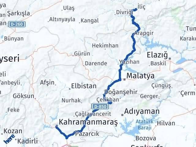 Erzincan İliç   Maraş Arası Kaç Km? Arası Kaç Km Saat? Nerede Yol Haritası Yakıt, Rota ve Mesafe Hesaplama