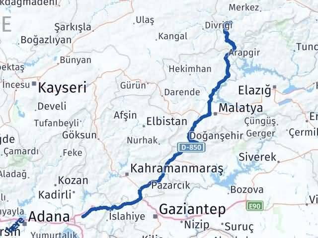 Erzincan İliç   Osmaniye Arası Kaç Km? Arası Kaç Km Saat? Nerede Yol Haritası Yakıt, Rota ve Mesafe Hesaplama