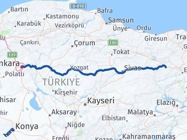 Erzincan Refahiye Ankara Arası Kaç Km? Arası Kaç Km Saat? Nerede Yol Haritası Yakıt, Rota ve Mesafe Hesaplama