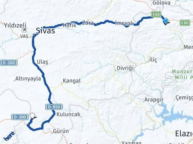 Refahiye Avşarözü Kayalar Gürün Arası Kaç Km? Arası Kaç Km Saat? Nerede Yol Haritası Yakıt, Rota ve Mesafe Hesaplama