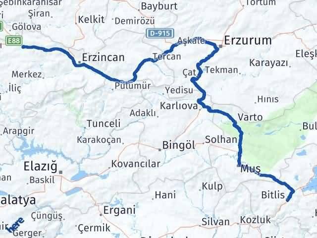Erzincan Refahiye Bitlis Arası Kaç Km? Arası Kaç Km Saat? Nerede Yol Haritası Yakıt, Rota ve Mesafe Hesaplama