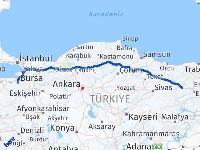 Erzincan Refahiye Bursa Arası Kaç Km? Arası Kaç Km Saat? Nerede Yol Haritası Yakıt, Rota ve Mesafe Hesaplama