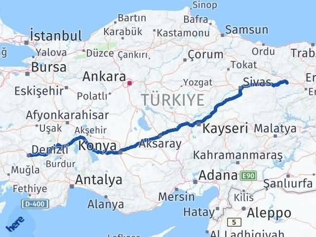 Erzincan Refahiye Denizli Arası Kaç Km? Arası Kaç Km Saat? Nerede Yol Haritası Yakıt, Rota ve Mesafe Hesaplama