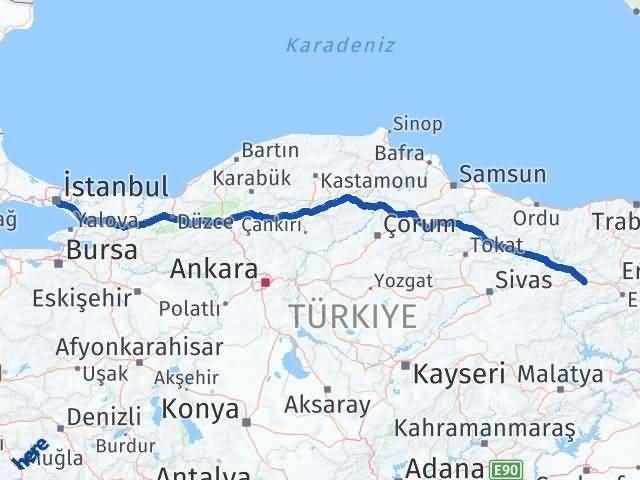 Erzincan Refahiye İstanbul Arası Kaç Km? Arası Kaç Km Saat? Nerede Yol Haritası Yakıt, Rota ve Mesafe Hesaplama