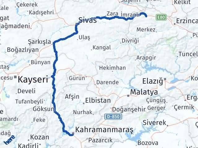 Erzincan Refahiye Maraş Arası Kaç Km? Arası Kaç Km Saat? Nerede Yol Haritası Yakıt, Rota ve Mesafe Hesaplama