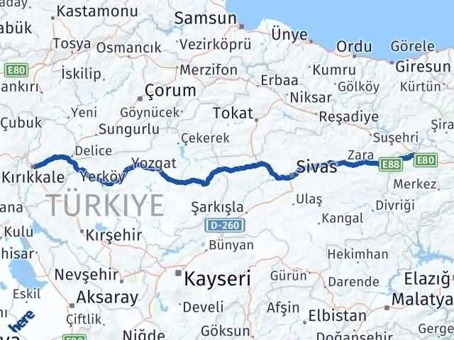 Erzincan Refahiye Kırıkkale Arası Kaç Km? Arası Kaç Km Saat? Nerede Yol Haritası Yakıt, Rota ve Mesafe Hesaplama