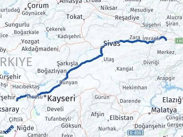 Erzincan Refahiye Nevşehir Arası Kaç Km? Arası Kaç Km Saat? Nerede Yol Haritası Yakıt, Rota ve Mesafe Hesaplama