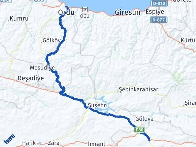 Erzincan Refahiye Ordu Arası Kaç Km? Arası Kaç Km Saat? Nerede Yol Haritası Yakıt, Rota ve Mesafe Hesaplama