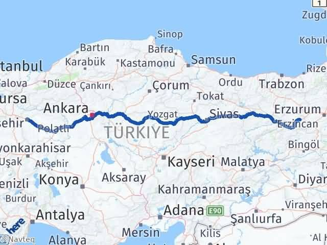 Erzincan Tercan   Eskişehir Arası Kaç Km? Arası Kaç Km Saat? Nerede Yol Haritası Yakıt, Rota ve Mesafe Hesaplama