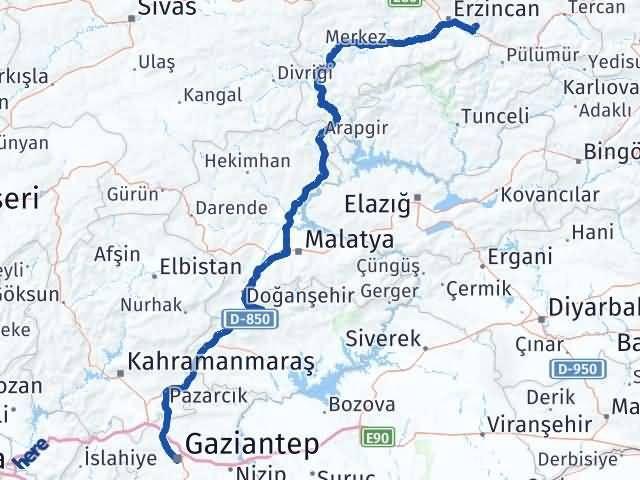 Erzincan Üzümlü   Gaziantep Arası Kaç Km? Arası Kaç Km Saat? Nerede Yol Haritası Yakıt, Rota ve Mesafe Hesaplama