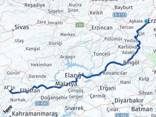 Erzurum Afşin Maraş Arası Kaç Km? - Kmhesaplama.com Arası Kaç Km Saat? Nerede Yol Haritası Yakıt, Rota ve Mesafe Hesaplama