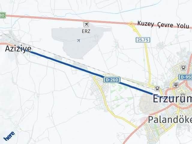 Erzurum Aziziye Arası Kaç Km? Yol Haritası - Km Hesaplama Arası Kaç Km Saat? Nerede Yol Haritası Yakıt, Rota ve Mesafe Hesaplama