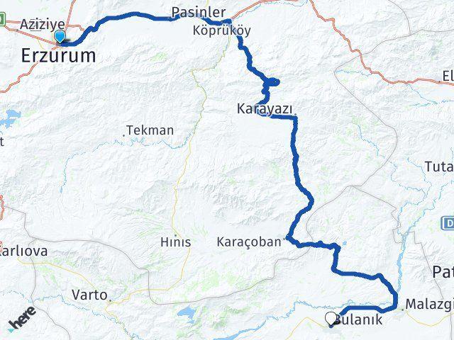 Erzurum Bulanık Muş Arası Kaç Km? - Kmhesaplama.com Arası Kaç Km Saat? Nerede Yol Haritası Yakıt, Rota ve Mesafe Hesaplama