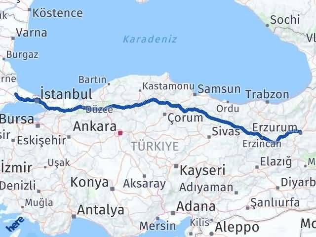 Erzurum Çerkezköy Tekirdağ Arası Kaç Km? - Kmhesaplama.com Arası Kaç Km Saat? Nerede Yol Haritası Yakıt, Rota ve Mesafe Hesaplama