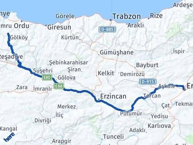 Erzurum Gürgentepe Ordu Arası Kaç Km? - Kmhesaplama.com Arası Kaç Km Saat? Nerede Yol Haritası Yakıt, Rota ve Mesafe Hesaplama