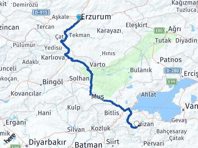 Erzurum Hizan Bitlis Arası Kaç Km? - Kmhesaplama.com Arası Kaç Km Saat? Nerede Yol Haritası Yakıt, Rota ve Mesafe Hesaplama