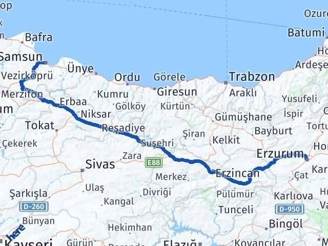 Erzurum İlkadım Samsun Arası Kaç Km? - Kmhesaplama.com Arası Kaç Km Saat? Nerede Yol Haritası Yakıt, Rota ve Mesafe Hesaplama