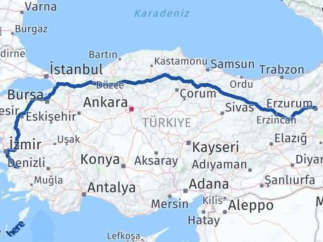 Erzurum İncirliova Arası Kaç Km? Arası Kaç Km Saat? Nerede Yol Haritası Yakıt, Rota ve Mesafe Hesaplama