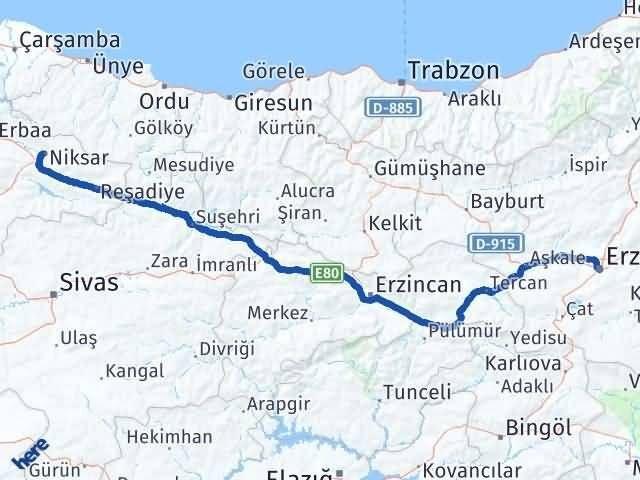 Erzurum Niksar Tokat Arası Kaç Km? - Kmhesaplama.com Arası Kaç Km Saat? Nerede Yol Haritası Yakıt, Rota ve Mesafe Hesaplama