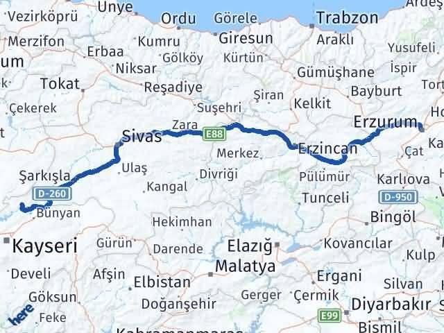 Erzurum Özvatan Kayseri Arası Kaç Km? - Kmhesaplama.com Arası Kaç Km Saat? Nerede Yol Haritası Yakıt, Rota ve Mesafe Hesaplama