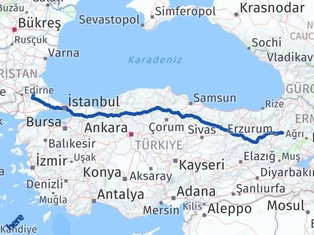 Erzurum Pasinler Kırklareli Arası Kaç Km? Arası Kaç Km Saat? Nerede Yol Haritası Yakıt, Rota ve Mesafe Hesaplama