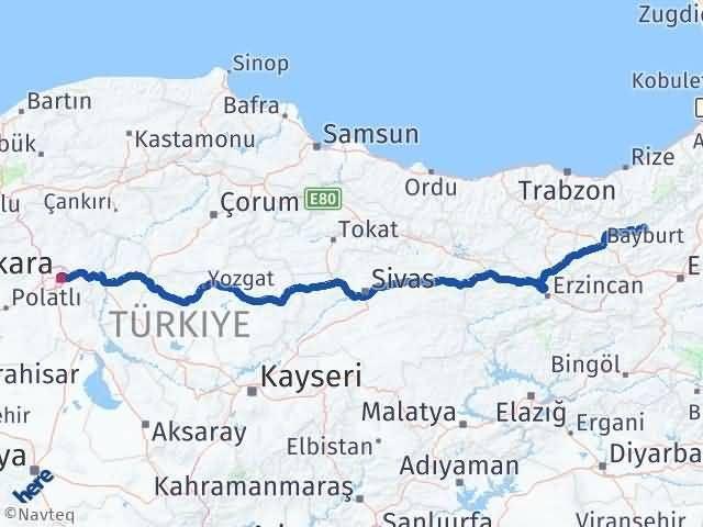 Erzurum Pazaryolu Ankara Arası Kaç Km? Arası Kaç Km Saat? Nerede Yol Haritası Yakıt, Rota ve Mesafe Hesaplama