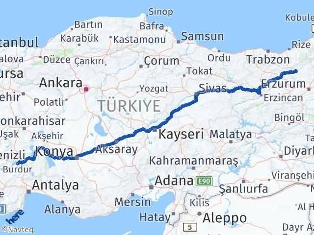 Erzurum Pazaryolu Burdur Arası Kaç Km? Arası Kaç Km Saat? Nerede Yol Haritası Yakıt, Rota ve Mesafe Hesaplama