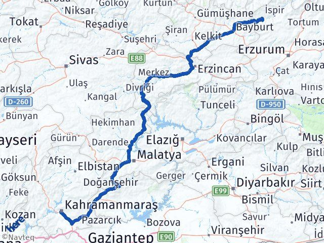Erzurum Pazaryolu Maraş Arası Kaç Km? Arası Kaç Km Saat? Nerede Yol Haritası Yakıt, Rota ve Mesafe Hesaplama