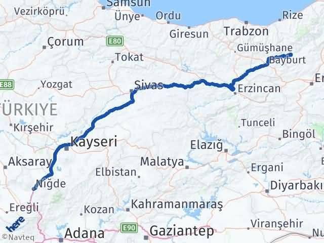 Erzurum Pazaryolu Niğde Arası Kaç Km? Arası Kaç Km Saat? Nerede Yol Haritası Yakıt, Rota ve Mesafe Hesaplama