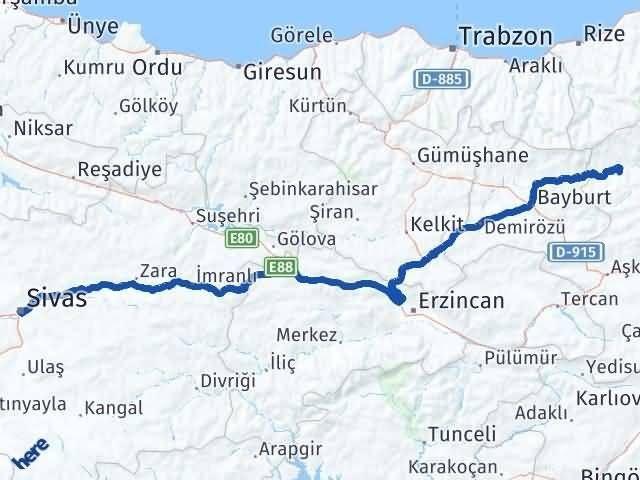 Erzurum Pazaryolu Sivas Arası Kaç Km? Arası Kaç Km Saat? Nerede Yol Haritası Yakıt, Rota ve Mesafe Hesaplama