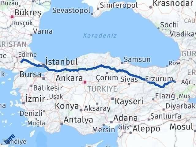 Erzurum Pehlivanköy Kırklareli Arası Kaç Km? Arası Kaç Km Saat? Nerede Yol Haritası Yakıt, Rota ve Mesafe Hesaplama